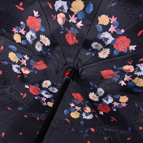 Black, Red, Blue and Multi Colour Flower Pattern Double Layer Canopy Inverted Umbrella with LED Light on Handle (Size 75 Cm)