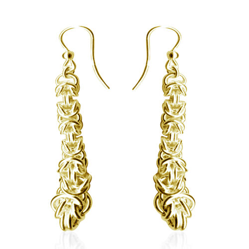 Limited Available- JCK Vegas Collection 14K Gold Overlay Sterling Silver Byzantine Hook Earrings, Silver wt. 6.80 Gms.