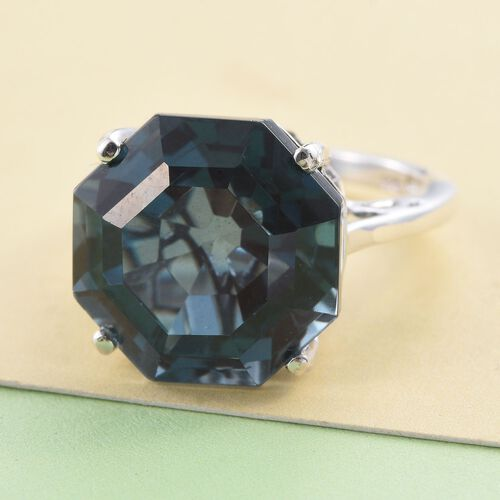 Indicolite Quartz (Octillion) Ring in Platinum Overlay Sterling Silver 12.250 Ct.