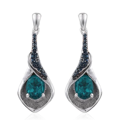 Capri Blue Quartz (Ovl), Blue Diamond Earrings (with Push Back) in Platinum Overlay Sterling Silver 2.760 Ct.