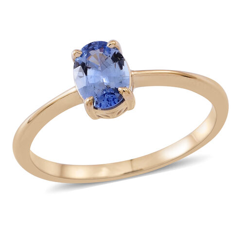 9K Y Gold AA Ceylon Sapphire (Ovl) Solitaire Ring 1.000 Ct.