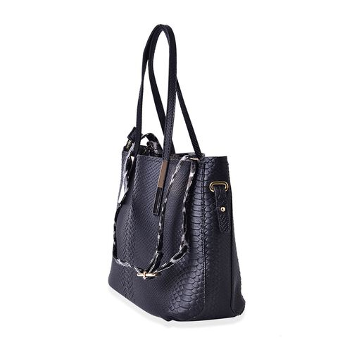 Set of 2 - Snake Embossed Black Colour Tote Bag (Size 37x24.5x15 Cm) and Leopard Pattern Crossbody Bag (Size 32x22.5x13 Cm)