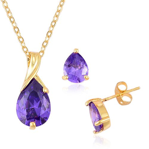AAA Simulated Amethyst Tear Drop Pendant With Chain (Size 22) and Stud Earrings (with Push Back) in Yellow Gold Tone