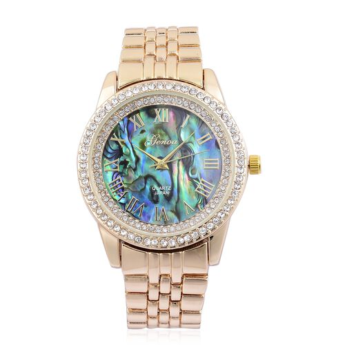 GENOA Japanese Movement Abalone Shell Dial with White Austrian Crystal Water Resistant Watch in Yellow Gold Tone with Stainless Steel Back