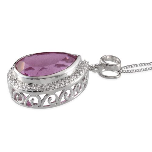 Kunzite Colour Quartz (Pear 10.50 Ct), White Topaz Pendant With Chain in Platinum Overlay Sterling Silver 10.510 Ct.