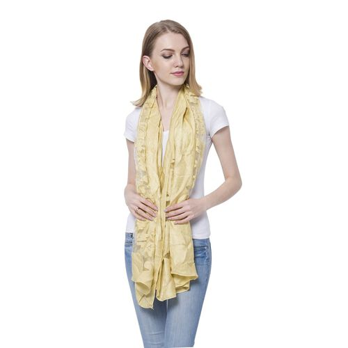 Limited Available - Designer Inspired - Yellow Colour Scarf (Size 185x65 Cm)