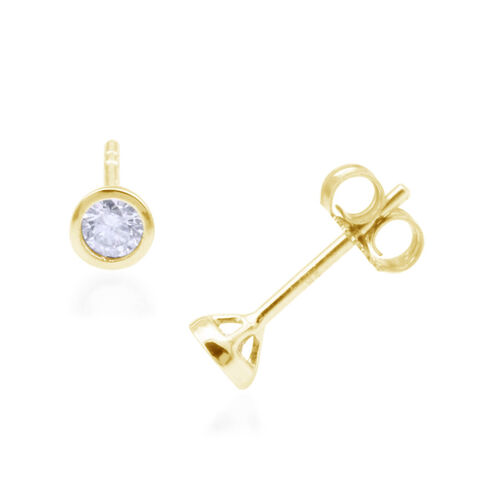 9K Yellow Gold 0.25 Carat Diamond Round Solitaire Stud Earrings I3/G-H SGL Certified.