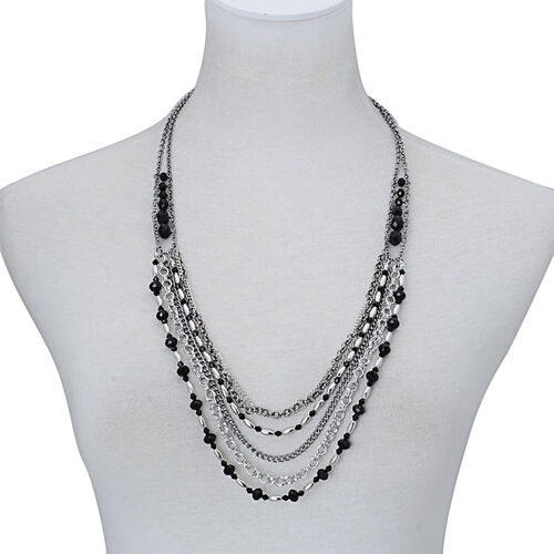 Simulated Black Spinel and Simulated Stone Multi Strand Necklace (Size 26 with 3 inch Extender) in Silver Tone
