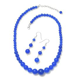 Blue Quartzite Graduated Necklace (Size 18 with 2 inch Extender) and Hook Earrings in Platinum Overlay Sterling Silver 200.000 Ct.