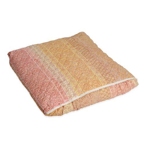 100% Cotton Hand Block Printed Multi Colour Quillow (Size 220x140 Cm)