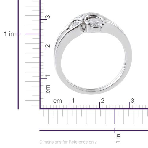 J Francis - Platinum Overlay Sterling Silver (Rnd) 2 Ring Set Made with SWAROVSKI ZIRCONIA, Silver wt 5.00 Gms.