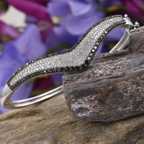 Brand New Black Diamond (Rnd), White Diamond Wishbone Bangle (Size 7.5) in Platinum Overlay Sterling Silver 2.750 Ct. Silver wt 19.00 Gms.