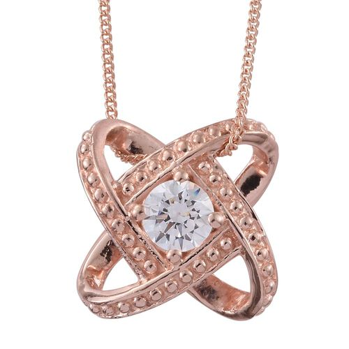J Francis - Rose Gold Overlay Sterling Silver (Rnd) Galaxy Pendant with Chain Made with SWAROVSKI ZIRCONIA