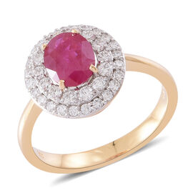 Collectors Edition - ILIANA 18K Y Gold AAA Burmese Ruby (Ovl 2.00 Ct), Diamond (SI/G-H) Ring 2.750 Ct.