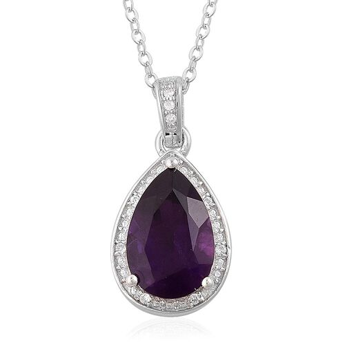Amethyst (Pear 2.75 Ct), White Zircon Pendant with Chain in Platinum Overlay Sterling Silver 2.850 Ct.