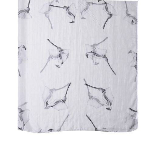 100% Mulberry Silk Black and White Colour Calla Lily Pattern Scarf (Size 180X110 Cm)