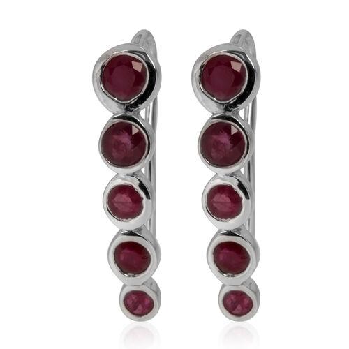 Burmese Ruby (Rnd) Earrings in Rhodium Plated Sterling Silver 1.760 Ct.
