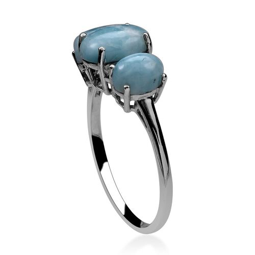 Larimar (Ovl 2.00 Ct) 3 Stone Ring in Platinum Overlay Sterling Silver 3.750 Ct.