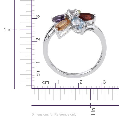 AA Lusaka Amethyst (Ovl), Hebei Peridot, Sky Blue Topaz, Mozambique Garnet, Citrine and White Topaz Floral Ring in Platinum Overlay Sterling Silver 2.500 Ct.