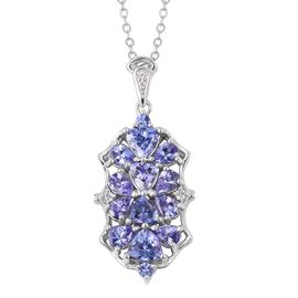 Tanzanite and Natural Cambodian White Zircon Pendant with Chain in Rhodium Plated Sterling Silver 2.460 Ct.