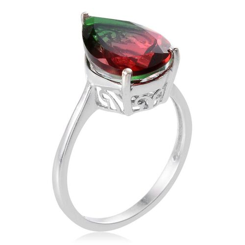 Tourmaline Colour Quartz (Pear) Solitaire Ring in Platinum Overlay Sterling Silver 6.000 Ct.