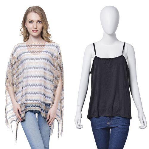 Coffee, Grey and White Colour Stripe Pattern Poncho (Size 90x55 Cm) and Black Colour Vest (Size 60x55 Cm)