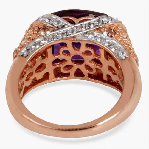 Zambian Amethyst (Cush 4.25 Ct), White Topaz Ring in Rose Gold Overlay Sterling Silver 5.650 Ct.