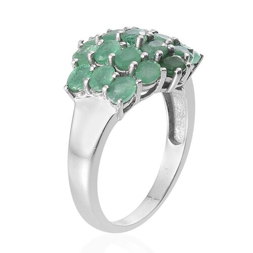 Kagem Zambian Emerald (Ovl) Cluster Ring in Platinum Overlay Sterling Silver 3.000 Ct.