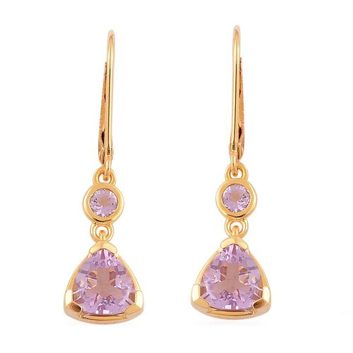 Rose De France Amethyst (Trl) Lever Back Earrings in Yellow Gold Overlay Sterling Silver 2.350 Ct.