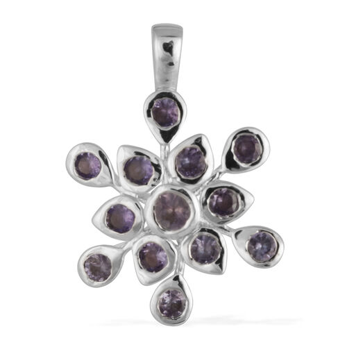 Tanzanite (Rnd) SnowflakePendant in Platinum Overlay Sterling Silver 1.500 Ct.