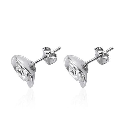 Platinum Overlay Sterling Silver Floral Stud Earrings (with Push Back), Silver wt 5.45 Gms.