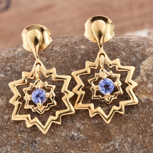 Tanzanite 0.25 Ct Snowflake Earrings (with Push Back) in Gold Overlay Sterling Silver