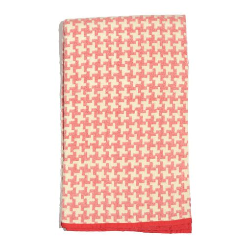 100% Cotton Flannel Red and White Colour Houndstooth Pattern Plaid (Size 150x130 Cm)