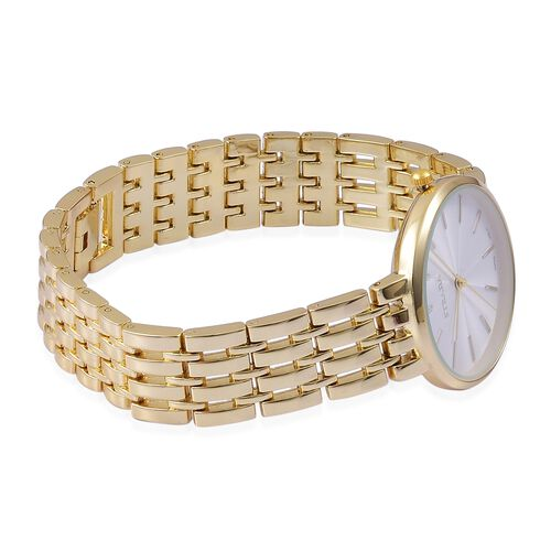 STRADA Urban Style White Finished Yellow Gold Tone Metal Strap Watch