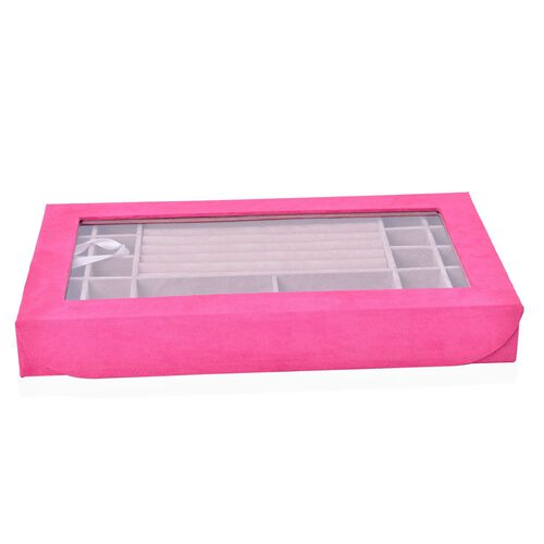 Rectangular Pink Colour Velvet Jewellery Box (Size 37.8X23X5 Cm)