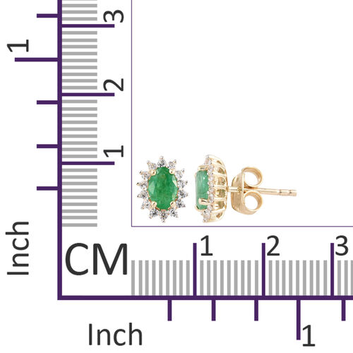 1.25 Ct AA Kagem Zambian Emerald and Natural Cambodian Zircon Halo Stud Earrings in 9K Gold (with Push Back)