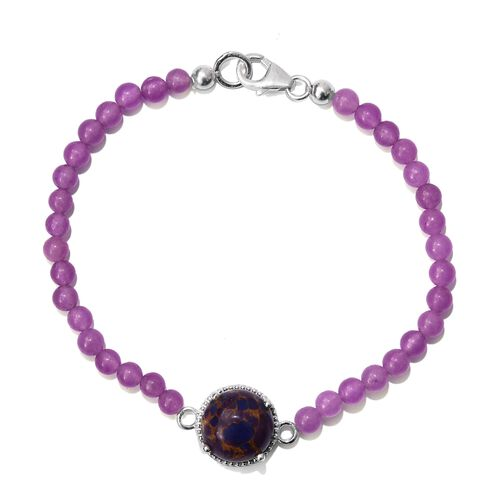 Close Out One Time Deal-Mojave Purple Turquoise (Rnd 6.50 Ct), Quartsite Bracelet (Size 7.5) in Platinum Overlay Sterling Silver 21.750 Ct.