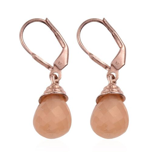 Orange Moonstone Lever Back Earrings in Rose Gold Overlay Sterling Sterling Silver 11.250 Ct.