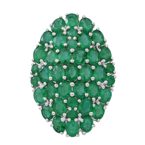Limited Edition- 9K W Gold AAAA Kagem Zambian Emerald (Ovl) Cluster Pendant 5.500 Ct.