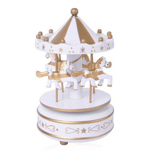 Home Decor - Handcrafted Golden and White Colour Wooden Horse Carousel Music Box (Size 18X10 Cm)