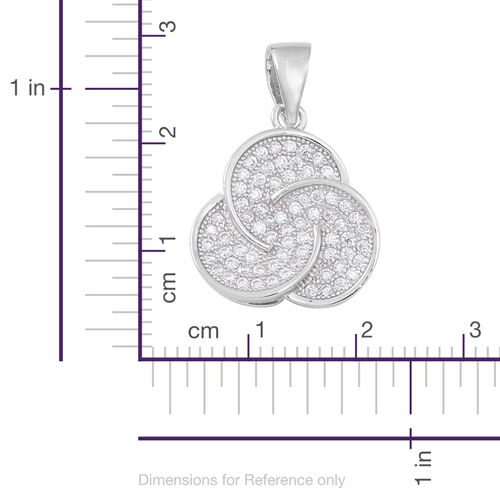 ELANZA AAA Simulated White Diamond (Rnd) Pendant in Rhodium Plated Sterling Silver.MicroPave Setting