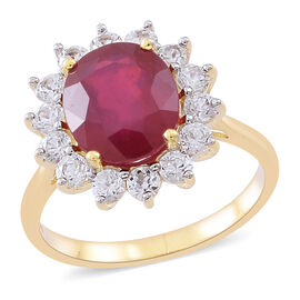 9K Y Gold AAA Rare Size African Ruby (Ovl 12x10mm), Natural Cambodian White Zircon Ring 8.000 Ct. (Estimated dispatch within 5-7 working days)
