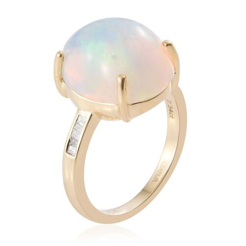 ILIANA 18K Y Gold AAAA Ethiopian Welo Opal (Ovl 7.34 Ct), Diamond (SI/G-H) Ring 7.440 Ct.