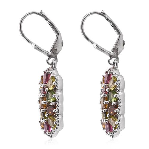 Rainbow Tourmaline (Ovl) Lever Back Earrings in Platinum Overlay Sterling Silver 4.000 Ct.