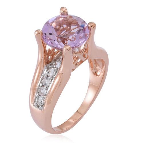 Rose De France Amethyst (Rnd 3.35 Ct), White Topaz Ring in Rose Gold Overlay Sterling Silver 4.000 Ct.