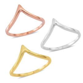 Set of 3 - 14K Yellow Gold and Rose Gold Overlay Sterling Silver Wishbone Ring