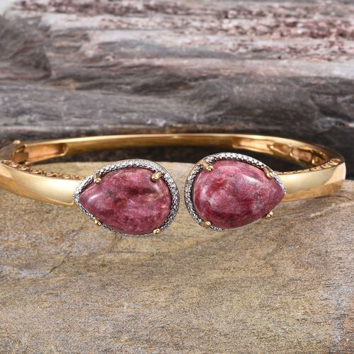 Norwegian Thulite (Pear), Diamond Bangle (Size 7.5) in ION Plated 18K Yellow Gold Bond 25.030 Ct.
