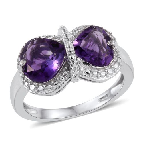 Uruguay Amethyst (Hrt) Ring in Platinum Overlay Sterling Silver 2.500 Ct.