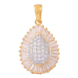 ELANZA AAA Simulated White Diamond (Rnd) Teardrop Pendant in 14K Gold Overlay Sterling Silver, Silver wt 3.13 Gms.