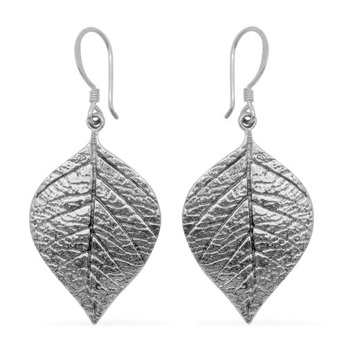 Designer Inspired Sterling Silver Leaves Hook Earrings, Silver wt 8.00 Gms.